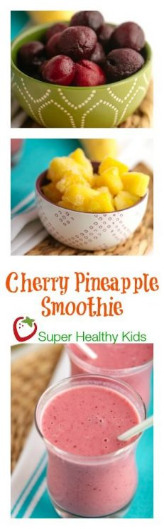 FOOD - Cherry Pineapple Smoothie. Super refreshing, sweet and full of nutrition. https://www.superhealthykids.com/cherry-orange-winter-smoothie/