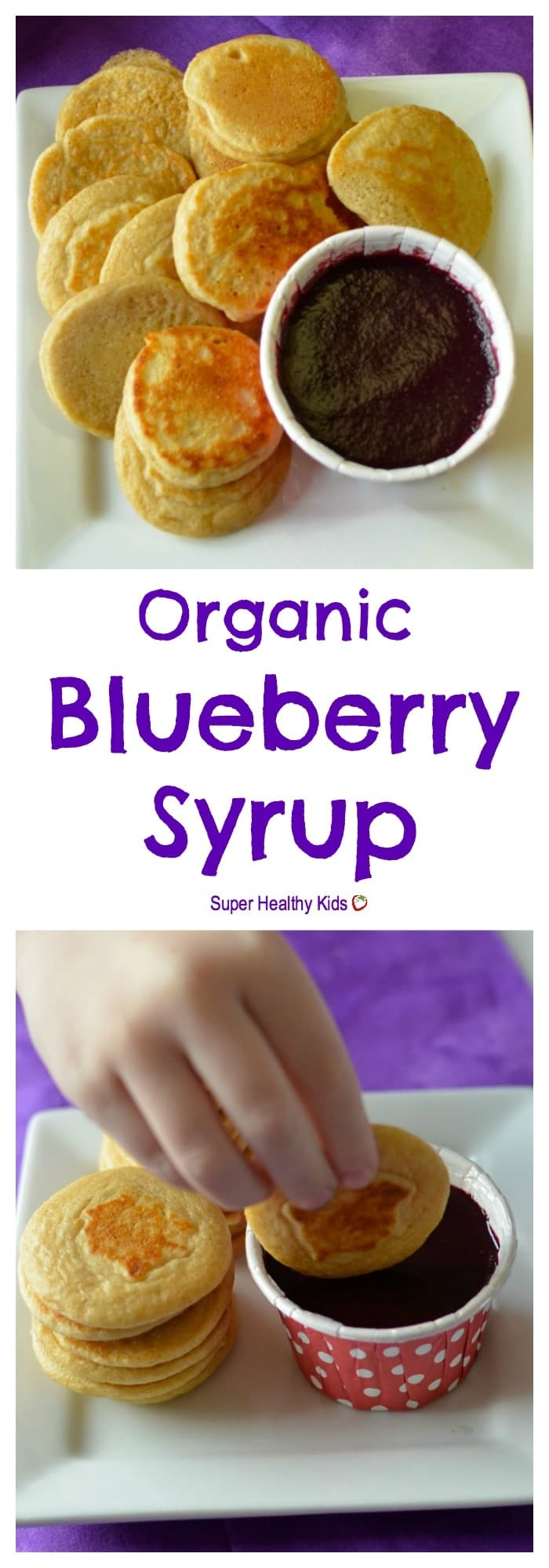 FOOD - Simple Organic Blueberry Syrup. Toddlers can dip their mini pancakes in this homemade, organic, all-natural blueberry syrup! https://www.superhealthykids.com/simple-organic-blueberry-syrup-recipe/