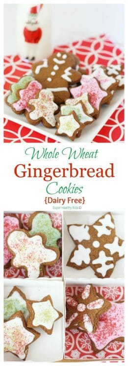 Whole Wheat Gingerbread Cookies {Dairy Free}. You won't be able to tell the difference! https://www.superhealthykids.com/whole-wheat-gingerbread-cookies-dairy-free/