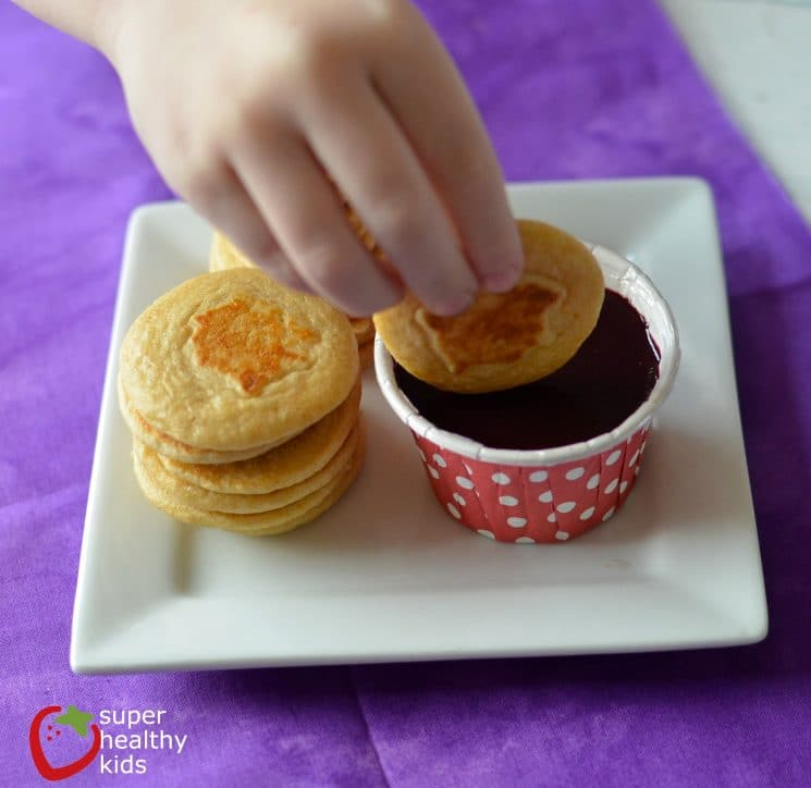 Simple Organic Blueberry Syrup. Toddlers can dip their mini pancakes in this homemade, organic, all-natural blueberry syrup!