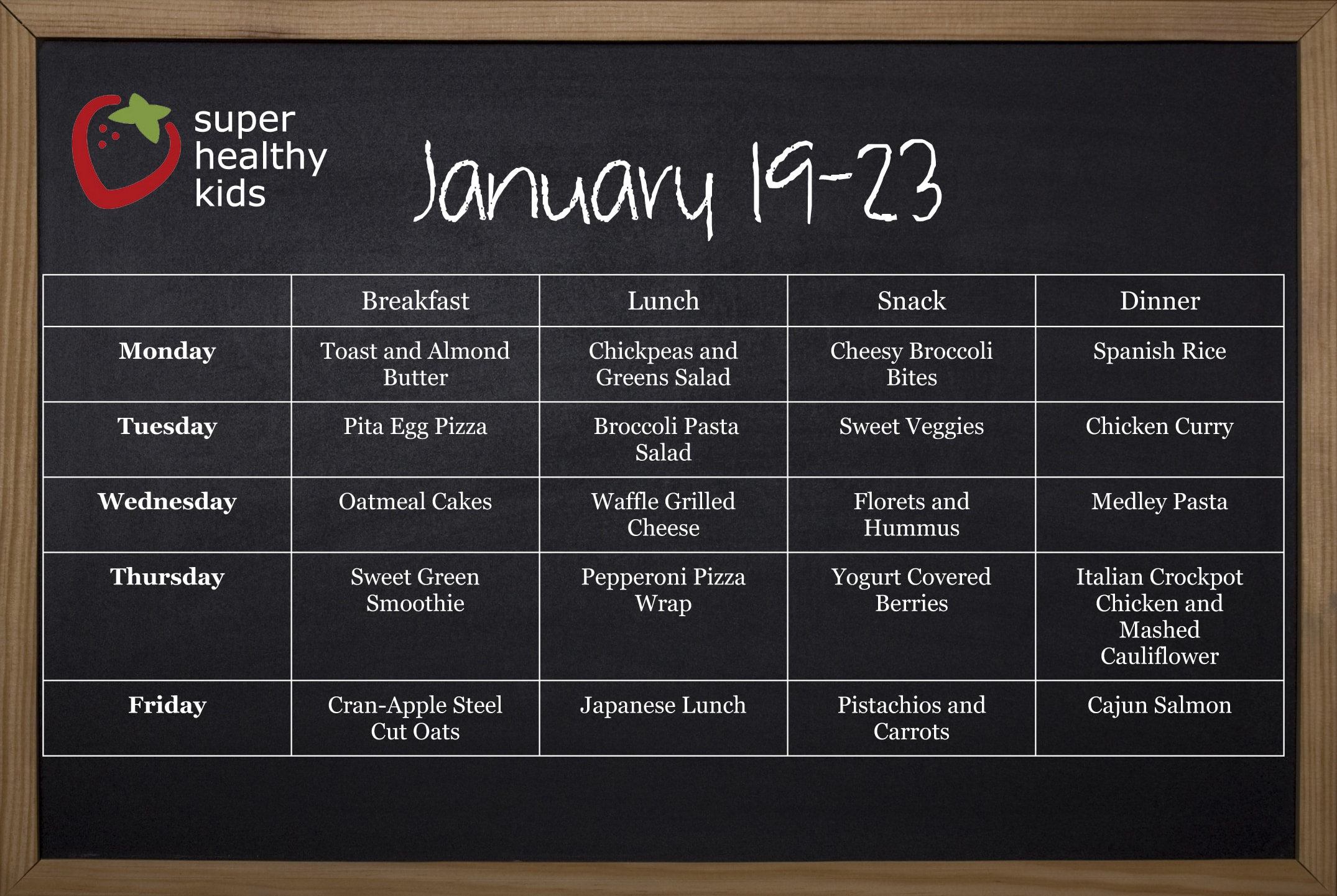 Healthy Meal Plans Super Healthy Kids