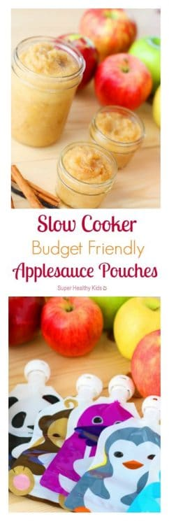 Slow Cooker Budget Friendly Applesauce Pouches. Homemade, budget-friendly applesauce that is better than the store-bought stuff! https://www.superhealthykids.com/slow-cooker-budget-friendly-applesauce-pouches/