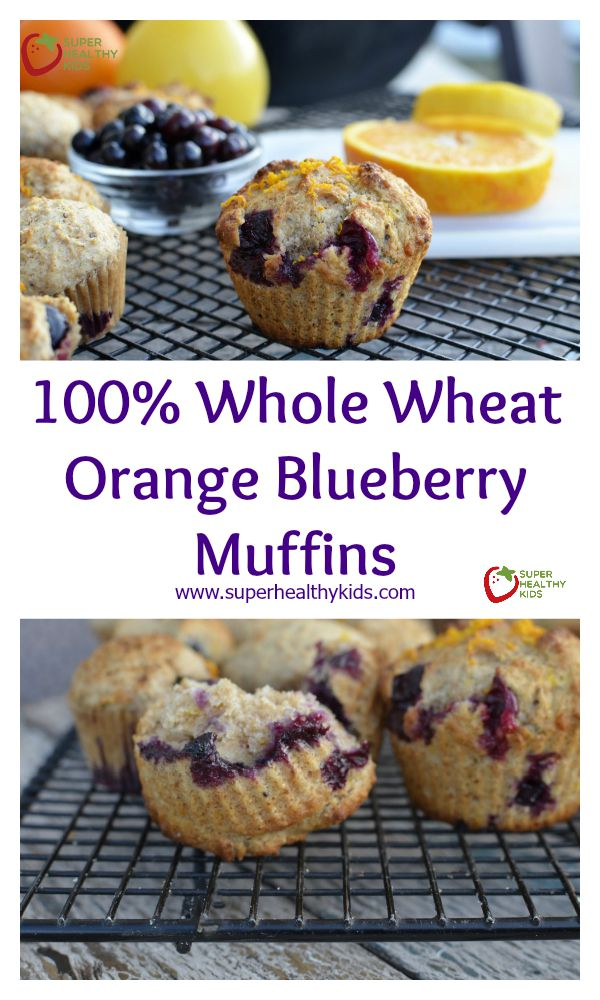 FOOD - 100% Whole Wheat Orange Blueberry Muffins. Egg-free and sweetened only with honey, the kids still can't resist them! http://www.superhealthykids.com/100-whole-wheat-orange-blueberry-muffins/