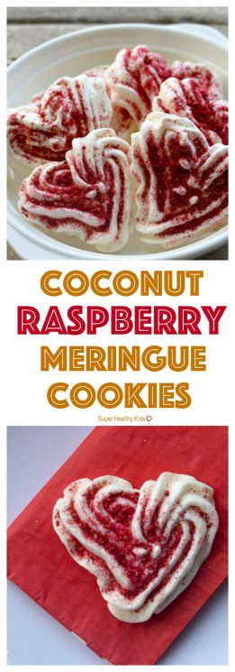 FOOD - Coconut Raspberry Meringue Cookies. Light and fluffy meringue cookies that melt in your mouth! https://www.superhealthykids.com/coconut-raspberry-meringue-cookies/