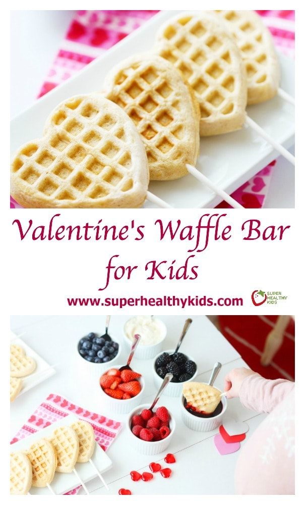 FOOD - Valentines Waffle Bar for Kids. Go the extra mile to make today special for your little Valentines! https://www.superhealthykids.com/valentines-waffle-bar-kids/