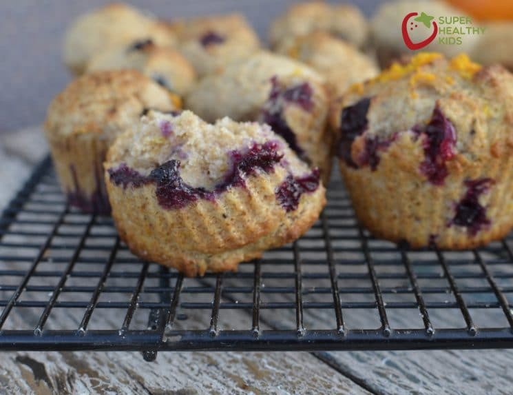 100% Whole Wheat Orange Blueberry Muffin. Egg-free and sweetened only with honey, the kids still can't resist them!