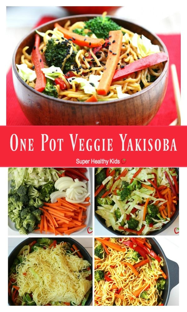 FOOD - One Pot Veggie Yakisoba. A quick dinner idea that are sure to get the kids eating more vegetables. https://www.superhealthykids.com/one-pot-veggie-yakisoba/
