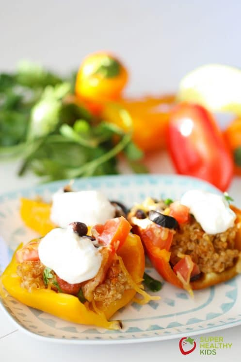 Quinoa Stuffed Mini Bell Nachos. A super healthy appetizer!