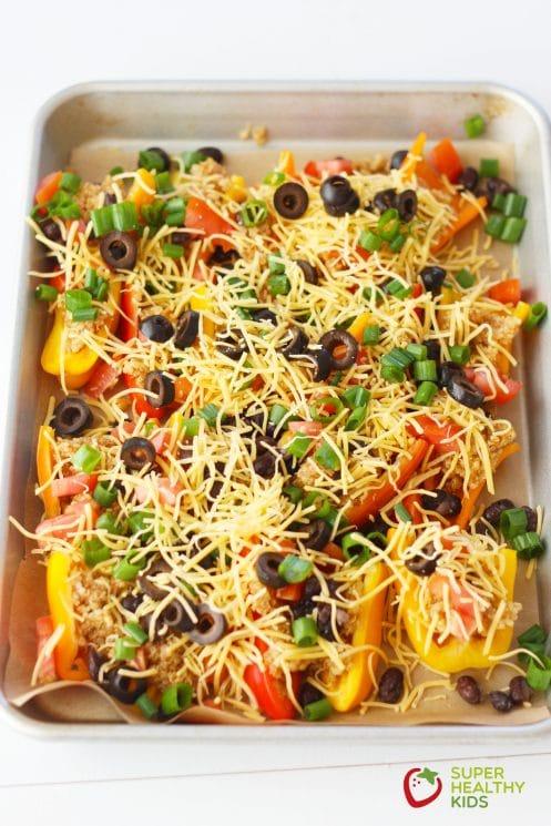 Quinoa Stuffed Mini Bell Nachos. A super healthy appetizer!