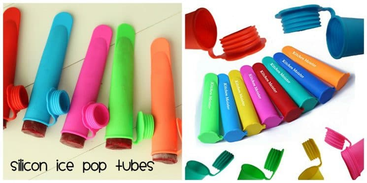 Silicone Ice Pop Tubes filled with beet smoothie