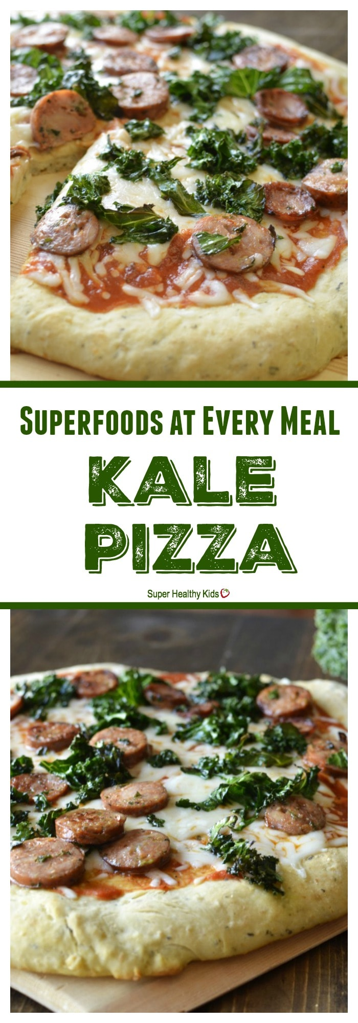FOOD - Superfoods at Every Meal: Kale Pizza. This kale pizza includes chickpeas in the crust. So delicious and good for you! http://www.superhealthykids.com/superfoods-at-every-meal-kale-pizza/