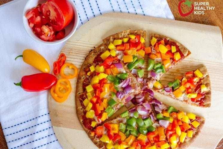 21 Days of Things to Do with A Picky Eater, rainbow pizza with peppers and red onions