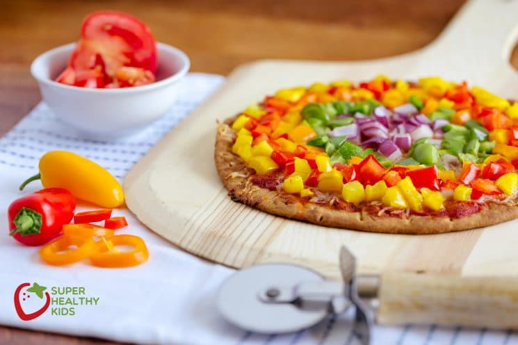 Rainbow Pepper Pizza. A great way to add nutrients to pizza...pile it with veggies!, bell peppers