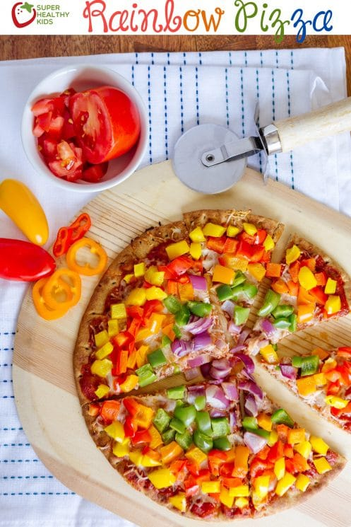 Homemade rainbow bell peppers pizza, rainbow pizza