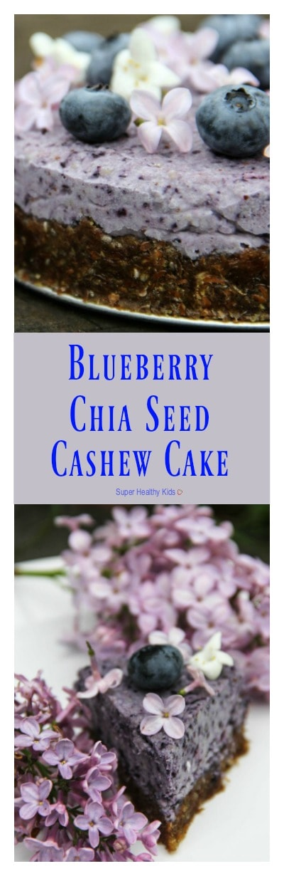 Blueberry Chia Seed Cashew Cake. A beautiful and delicious treat for any occasion. http://www.superhealthykids.com/blueberry-chia-seed-cashew-cake/