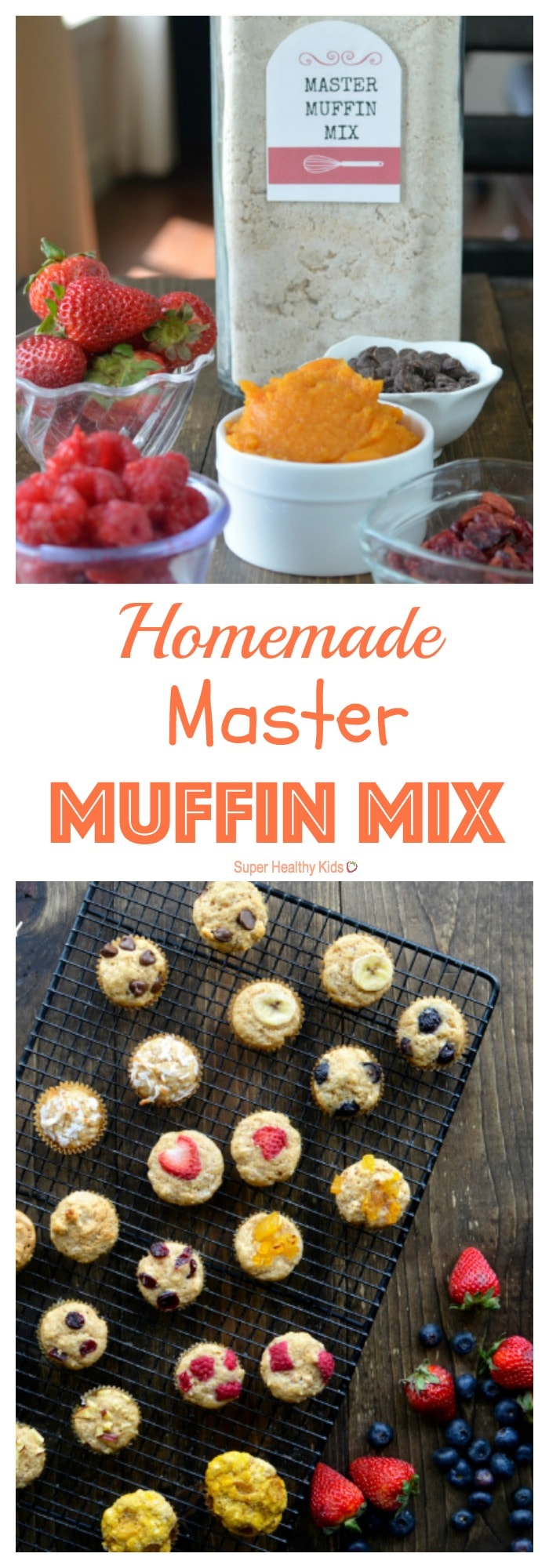 Homemade Master Muffin Mix Recipe. No need to buy pre-made muffin mixes from the store- we've got all you need to make your own mix. Your kids will have trouble deciding which muffins to try first! http://www.superhealthykids.com/homemade-master-muffin-mix/