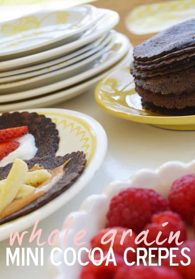Whole Grain Mini Chocolate Crepes. If your kids like chocolate, you can serve it up for breakfast!