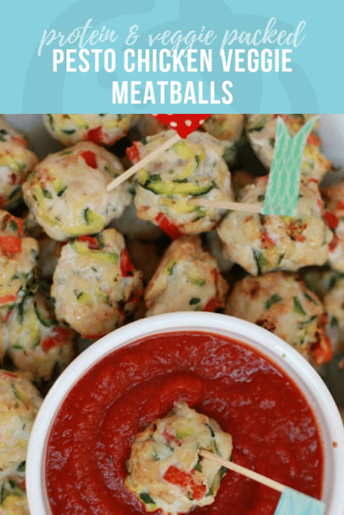 Pesto Chicken Veggie Meatball Pin | Healthy Ideas & Recipes for Kids
