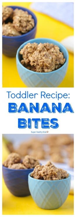 FOOD - Toddler Recipe: Banana Bites. Healthy finger food, for toddlers! https://www.superhealthykids.com/banana-cookies/