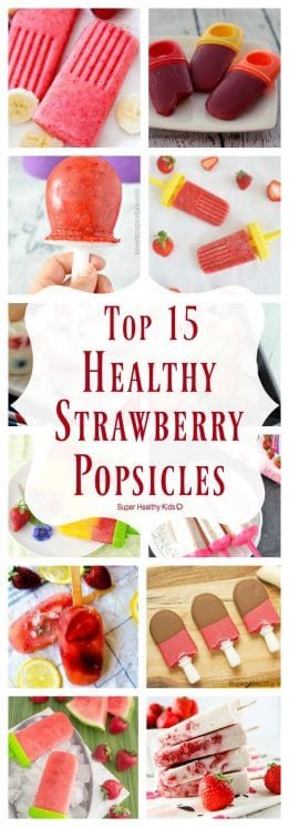 FOOD - Top 15 Healthy Strawberry Popsicles Recipes. These are the best strawberry popsicles on the internet! Sweet yummy strawberries and so much more! https://www.superhealthykids.com/top-15-healthy-strawberry-popsicle-recipes/