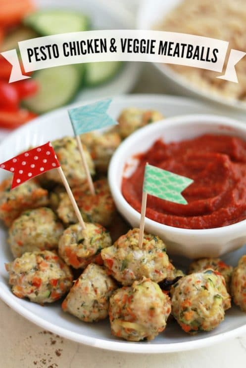 Pesto Chicken Veggie Meatballs. (Free of the top 8 allergens!) Perfect bite-sized meatballs for dipping or adding to pasta or sandwiches.