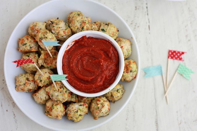 Pesto Chicken Veggie Meatballs. Perfect bite-sized meatballs for dipping or adding to pasta or sandwiches.