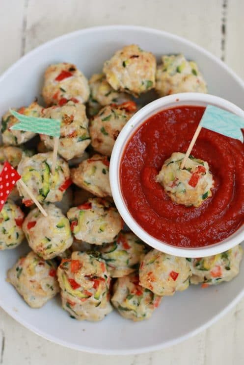 Pesto Chicken Veggie Meatballs (GF) - Perfect for parties, potlucks, and game days.
