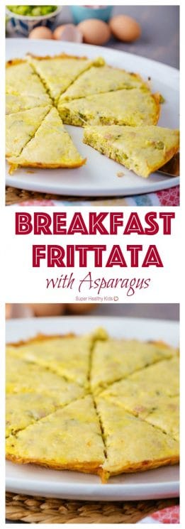 Breakfast Frittata with Asparagus. The perfect breakfast for a lazy Sunday morning! https://www.superhealthykids.com/breakfast-frittata-with-asparagus/