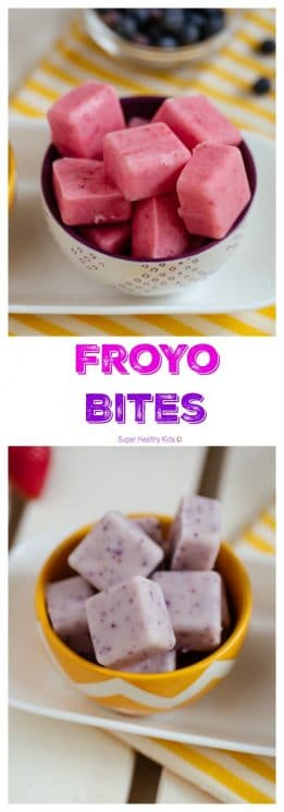 FOOD - FroYo Bites. We love fruit flavored frozen yogurt, but don't love all the sugar. This is the perfect solution - FroYo Bites! So easy to make with only two ingredients! https://www.superhealthykids.com/froyo-bites/