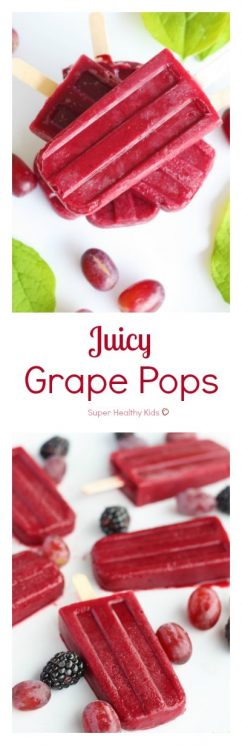 Juicy Grape Pops. Made with only grapes, these are refreshing, packed with vitamin C, and perfect for a thirst quenching treat. https://www.superhealthykids.com/juicy-grape-pops/