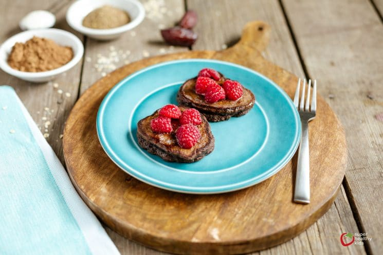 Sweet Cocoa Pancakes. These are packed with nutrition but taste delicious enough to be a dessert! Perfect recipe to serve as breakfast for dinner!