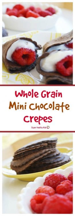 FOOD - Whole Grain Mini Chocolate Crepes. If your kids like chocolate, you can serve it up for breakfast! https://www.superhealthykids.com/whole-grain-mini-chocolate-crepes/
