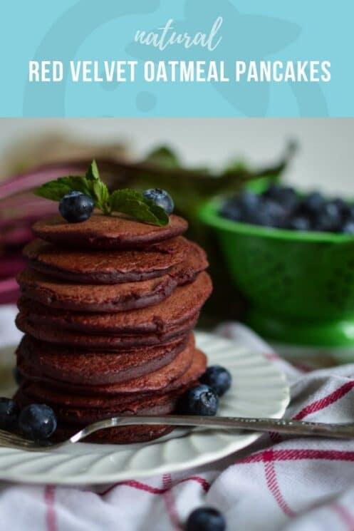 Natural Red Velvet Oatmeal Pancakes