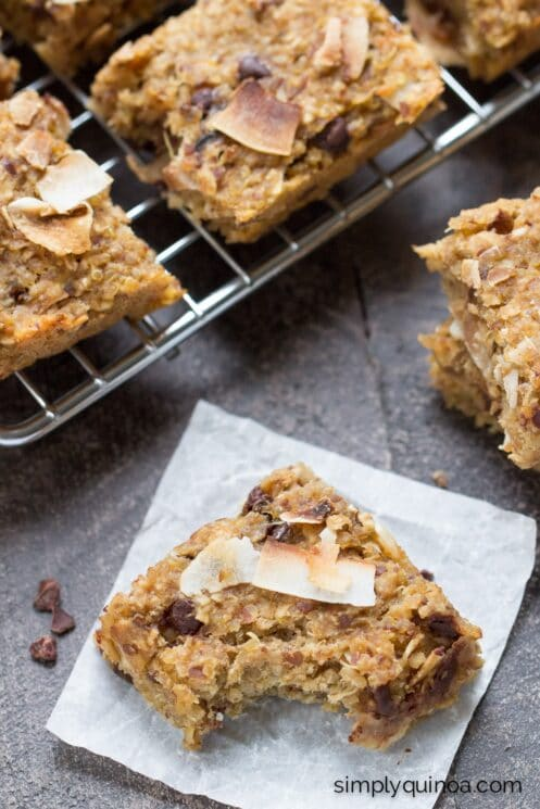 Simple Quinoa Breakfast Bars with coconut and chocolate chips -- easy, portable and SUPER healthy!