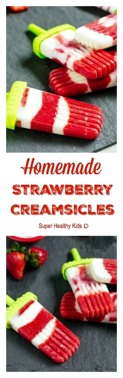 Strawberry Creamsicles. All fruit, no added sugar. Perfect way to use up your strawberries that are on their way out!