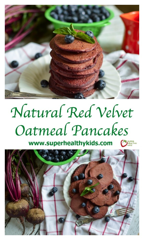 FOOD - Natural Red Velvet Oatmeal Pancakes. These are delicious and healthy! http://www.superhealthykids.com/natural-red-velvet-oatmeal-pancakes/
