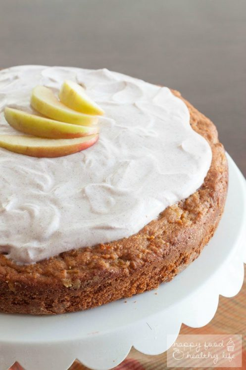 Apple Carrot Cake topped with a Cinnamon Greek Yogurt