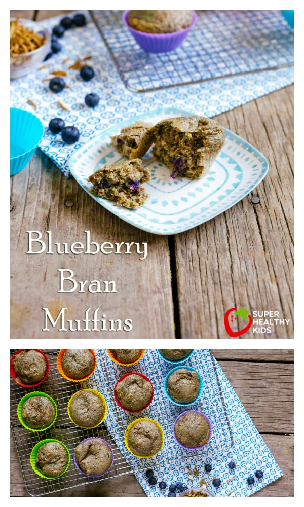 FOOD - Blueberry Bran Muffins. Packed with nutrition and delicious flavor. https://www.superhealthykids.com/bran-blueberry-muffins/