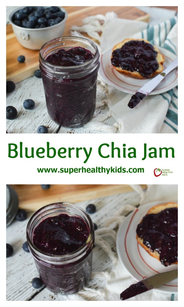 Blueberry Chia Seed Jam. No preservatives, all fruit, so yummy on toast, bagels and pb&j!!