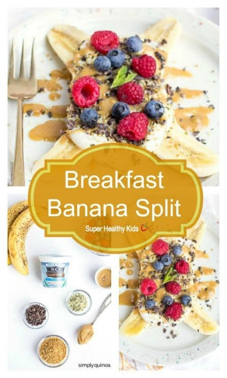 FOOD - Breakfast Banana Split. A healthy and delicious spin on a classic kid-friendly dessert, this breakfast banana split recipe is loaded with nutrition and taste amazing too! https://www.superhealthykids.com/breakfast-banana-splits/