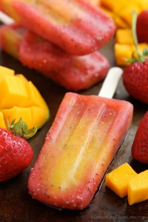 These Strawberry Mango Chia Popsicles are made with pure fruit, chia seeds, and a special ingredient to hydrate and replenish electrolytes!