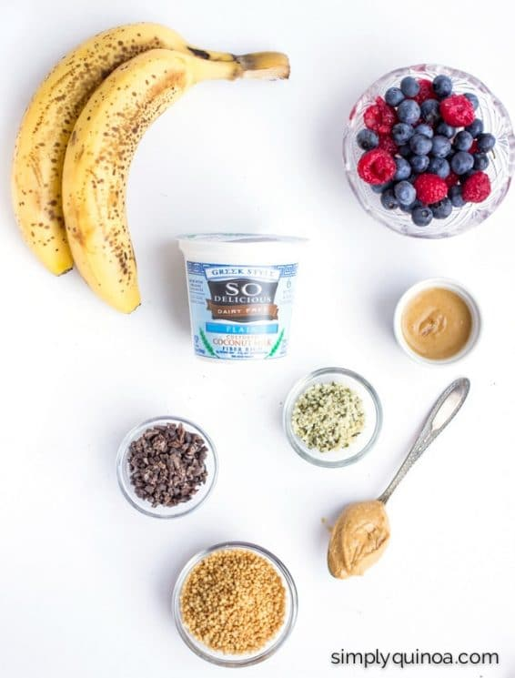 All the ingredients you need to make an epic Breakfast Banana Split!