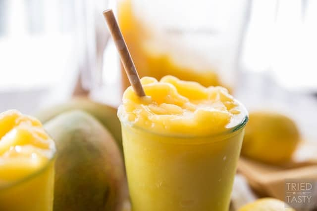 Peach Mango Freeze, the perfect refreshing summertime slushee made without any refined sugar!