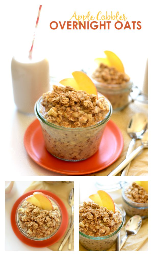 Apple Cobbler Overnight Oats Recipe - Take 5 minutes to prep breakfast for the family before bed and have the most delicious, whole-grain breakfast that tastes exactly like Apple Cobbler! http://www.superhealthykids.com/apple-cobbler-overnight-oats/