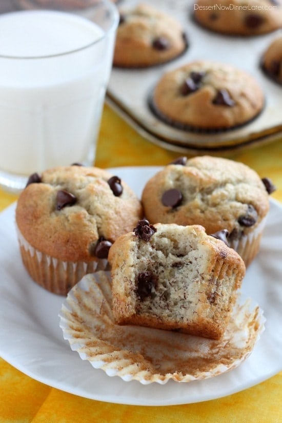 Banana Chocolate Chip Muffins. Kids love these healthy and delicious muffins!