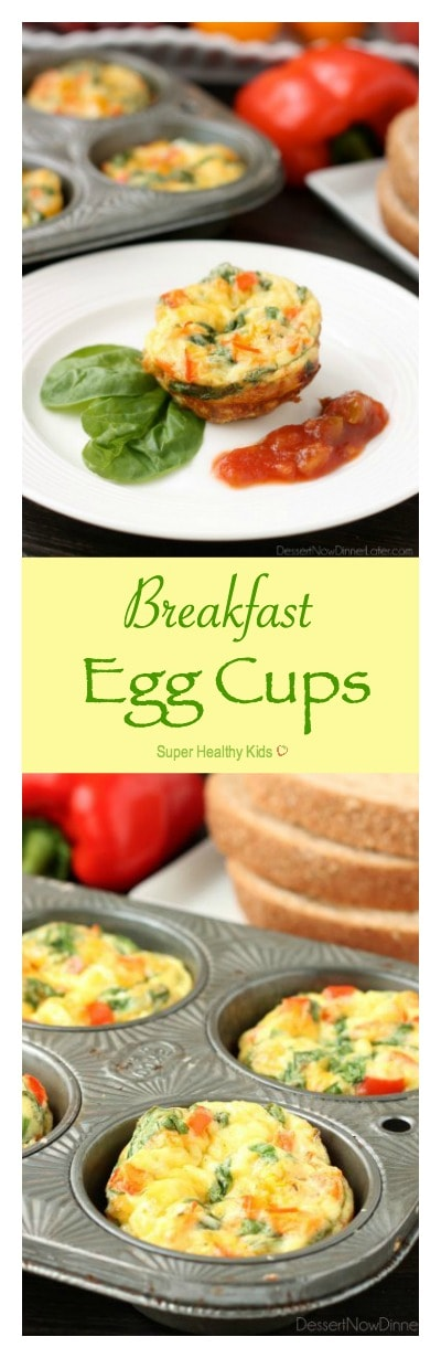 FOOD - Breakfast Egg Cups. These Breakfast Egg Cups are the perfect breakfast on-the-go. Make them ahead of time, refrigerate or freeze them, and then heat them in the microwave when you are ready to eat! www.superhealthykids.com/breakfast-egg-cups-recipe