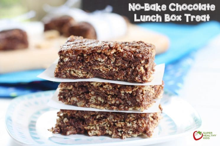 No-Bake Chocolate Lunch Box Treat. Perfect treat to send to school - nut free, gluten free, and so amazing your kids won't even know how much nutrition is packed in it. www.superhealthykids.com