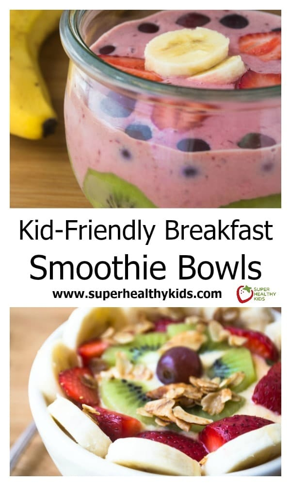 Breakfast Smoothie Bowl. Combines so many delicious and healthy ingredients into one breakfast bowl that kids love! www.superhealthykids.com