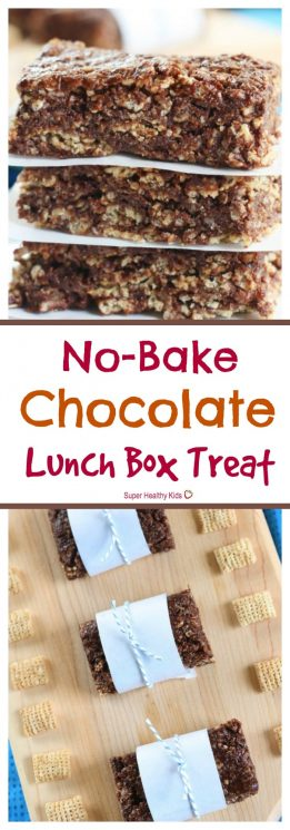 FOOD - No-Bake Chocolate Lunch Box Treat. Perfect treat to send to school - nut free, gluten free, and so amazing your kids won't even know how much nutrition is packed in it. https://www.superhealthykids.com/no-bake-chocolate-lunch-box-treat/