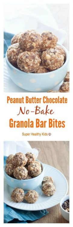 Peanut Butter Chocolate No-Bake Granola Bar Bites. Perfect for on-the-go snacking or school lunchboxes!